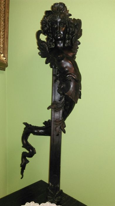 Mermaid - Large wooden sculpture - 19th century