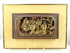 Gilt wood carving with figurative decoration - China - 19th century