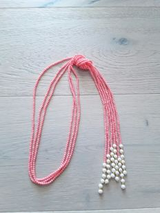 Long 3 row pink coral necklace with cultured pearls