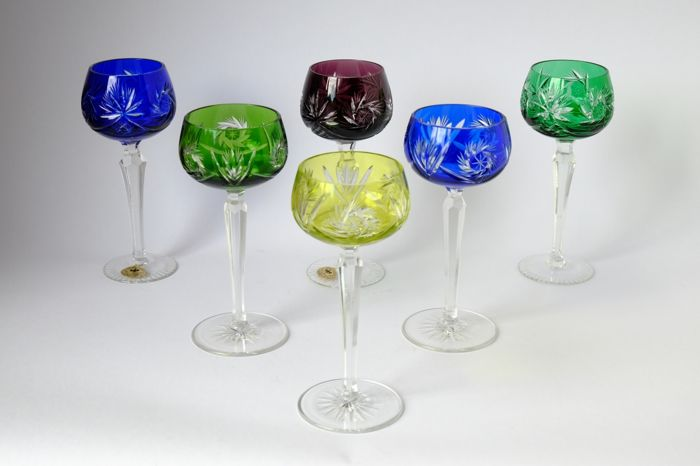 Kisslinger Six Cut Crystal Wine Glasses Rattenberg Austria Second