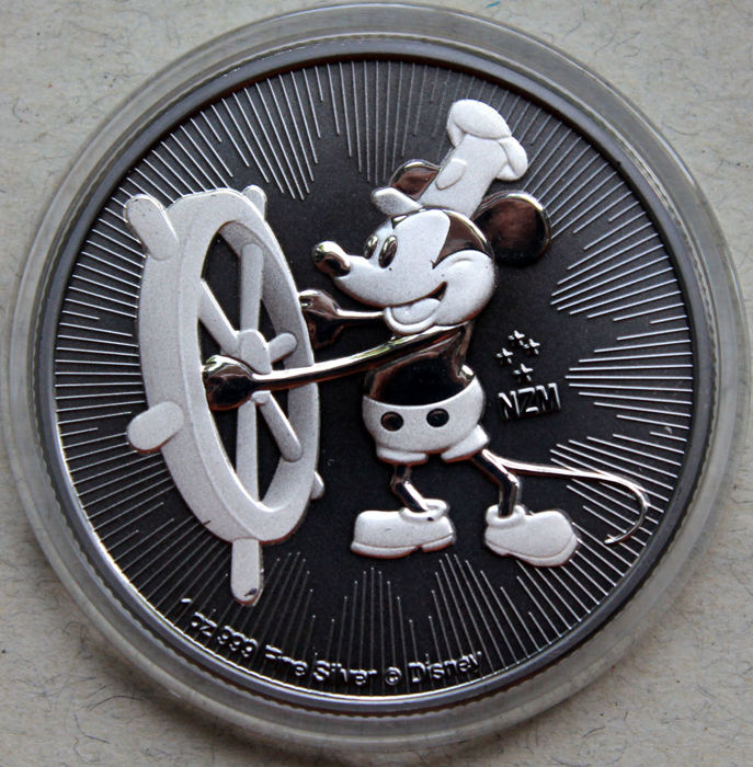 Niue - 2 Dollar 2017 'Mickey Maus   - Steamboat Willie' Ruthenium Gilded- 1 oz - Zilver