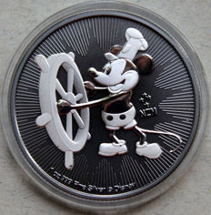 Niue - 2 dollars 2017 'Mickey Mouse / Steamboat Willie' black ruthenium gilded - 1oz silver