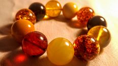 Mix colours round beads modified Baltic Amber bracelet, 42 grams