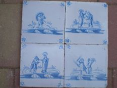Lot with 4 antique tiles with biblical scenes (special scene)
