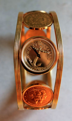 Franklin Mint 1988 - Caribbean Cuff Watch - gold plated coins