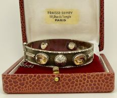 """Detailed 1900s """"6ct peach Citrine"""" children's bracelet in solid silver, artisanally made – NO reserve"""