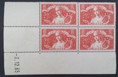 France 1935 - Unemployed, 50 c.+2 f. brick red, block of four with date corner - Yvert no. 308