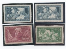 France 1928/1931 - Selection of Sinking Fund (Caisse d'Amortissement) stamps - Yvert no. 252, 252a, 256 and 269