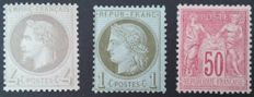 France 1863/1890 - selection of 3 stamps, 1 Calves signed - Yvert no. 27, 50 and 98