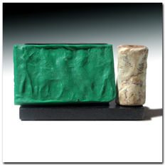 Large Akkadian Fossil Shell Cylinder Seal, Contest Scene, 3.3 cm. L