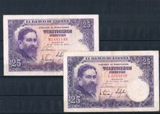 Spain - Lot of 35 different banknotes from Spain