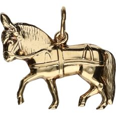 14k - Yellow gold pendant in the shape of a Zeeland horse - Length x Width: 2 cm x 1.7 cm
