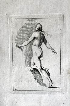 13 pages of the work by Robert Sayer (1725 – 1794) - The Complete Drawing-Book - Mostly anatomical sketches, poses and body details- 1757
