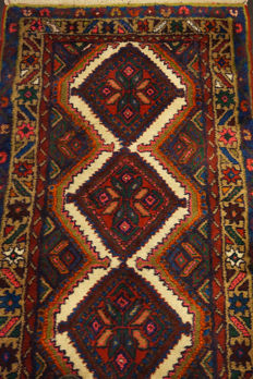 Old high-quality Persian carpet, Hamadan, runner, made in Iran, 85 x 290 cm