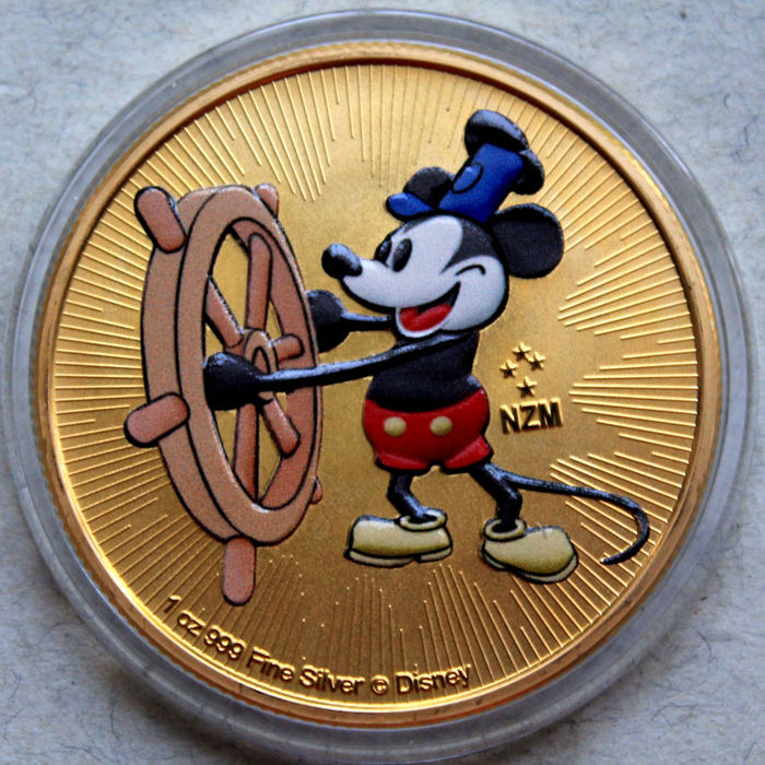 Niue - 2 Dollar 2017 Mickey Mouse - Steamboat Willie - Coloured - 1 Oz - Silver