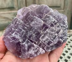 Large cluster of purple Fluorite crystals with 'stepped' crystal pattern - 11.2 x 11.8 x 5.4 cm - 835 g