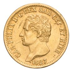 Kingdom of Sardinia – Carlo Felice 20 Lire 1827 Turin – Gold