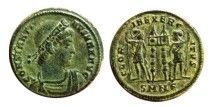 Roman empire - Constantine I (307-337 A.D.) bronze follis ( 2,86 g, 18 mm). Nicomedia mint. GLORIA EXERCITVS. SMNe