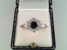 Old white gold cocktail ring with natural sapphire and diamond  0.80 ct in total
