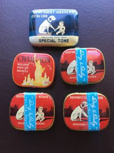 Gramophone Needles - 5 tins - Antiques - 1920's