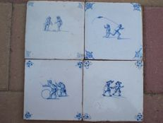 Lot with 4 antique tiles depicting children's games. Including one exceptional scene!