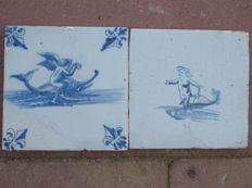 Lot with 2 antique tiles with sea creatures, Rare!