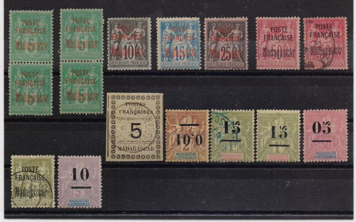 Madagascar, 1891/1902 – Selection of stamps, one with variety, some signed.