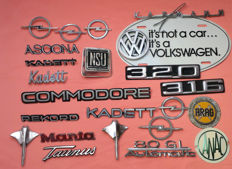 Collection of German auto emblems - Amongst others VW, Opel, BMW and Audi