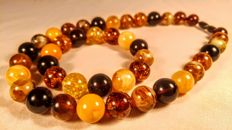 Modified Baltic Amber necklace and bracelet,  necklace length 46 cm