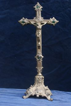 Beautiful standing crucifix  Inlaid with green gems around the cross , made of pewter , France , first half 20th century