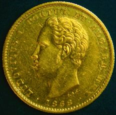 Portugal – 5,000 Réis in Gold – 1868 – Luís I – Lisbon – Uncirculated