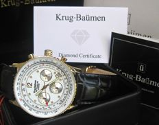 Krug Baumen Air Traveller 400202DS White Dial- Leather Diamond Watch new