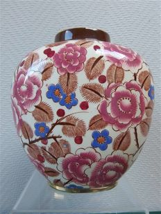 Boch Frères - earthenware vase with floral decoration