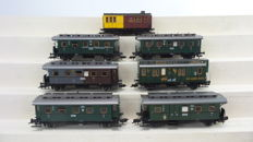 Fleischmann H0 - 5053/5054/5065/5067/5069/5825/5826 - 7 passenger carriages 2nd/3rd class with mail carriage
