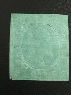 Sardinia 1853 - green 5 cents stamp, 'Sassone' no. 4