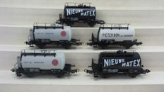 Piko H0 - 57744/95063/95064 - five 2-axle tank carriages of various companies, transported by the NS.