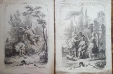 2 prints by Joseph Wagner (1706-1780) after Giuseppe Zocchi (1711-1767) - Italy - Ca. 1745
