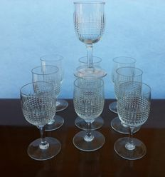 Lot of 10 cup glasses in cut crystal, model Nancy, Baccarat France - 1900/1930 ca