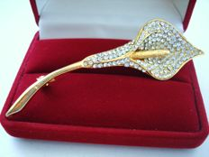 Signed Bookpiece  14K Gold plated Large Calla Lily Brooch with crystals - Pristine, vintage 1970's, made by Boucher company