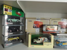 Corgi - Scale 1/43-1/50 - Lot with 11 models: 2 x Triumph, 2 x Mercedes-Benz, 1 x Austin Healy 1 x MG, Land Rover, VW van, 2 x Pantechnicon