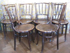 Set of 6 dining room chairs in Thonet style - Cosmos - ca. 1930