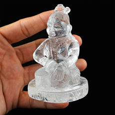 Top White Quartz Lord Krishna - 86 x 45 x 24 mm - 1051 cts