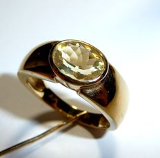 Ring/band ring made of 8 kt / 333 gold with natural oval-facetted citrine, ring size 57 / 18.1 mm