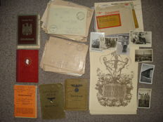 Convolute of a corporal pay book Field post art telegrams various IDs.