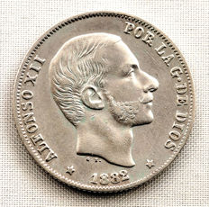 Spain - Alfonso XII - 20 Cents of a peso in silver - 1882 - Manila