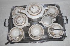 2 Limoges porcelain services - decorated with fine gold - fruit salad and coffee service for 6 people