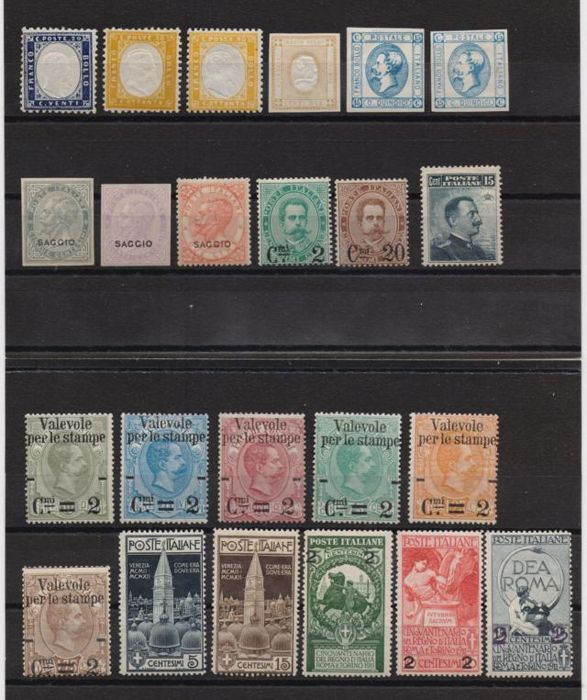 Kingdom of Italy - from 1862 onwards - collection of stamps with interesting print samples, varieties, archive samples