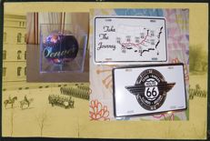 Design USA: baseball ball DENVER in crystal box and 2 car plates of route 66