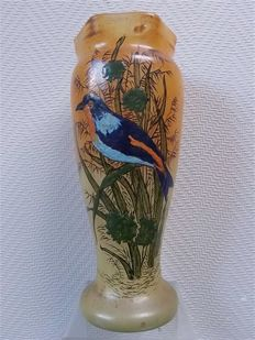Legras - A vase with enamelled decoration with a bird between the reeds