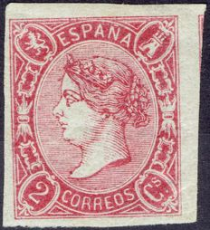 Spain 1865 – Isabel II Two quarters dark rouge colour – Edifil 69a